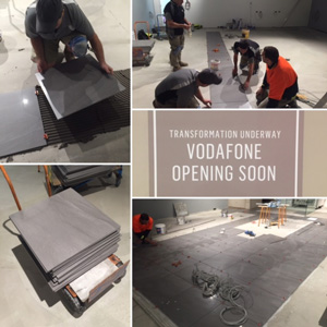 Tile setters use the ATR Leveling system to transform Vodafone's new store