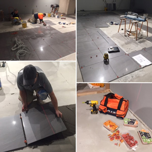 Work in progress - Vodafone's retail outlet new floor - 600x600 porcelain tiles