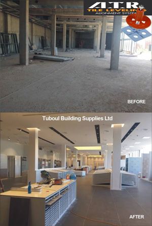Before and after images of Tuboul Building Supplies showroom. The tile setter used the ATR Leveling system to achieve theses great looking results.