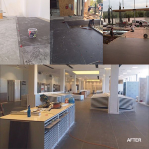 Before and after images of Tuboul Building Supplies showroom. The ATR Tile Leveling system contributed to this great looking professional showroom.