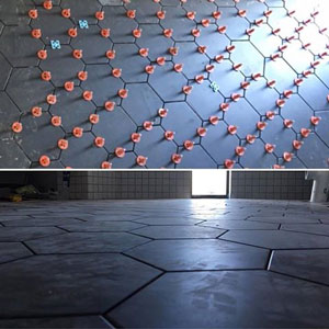 Hexagon tile installation with the aid of ATR Tile Leveling System edge spacing plate.