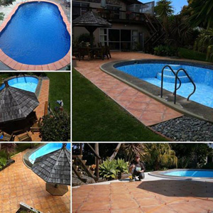 ATR Tile Leveling system in use on an outdoor pool area in New Zealand. Installation by Troy B.